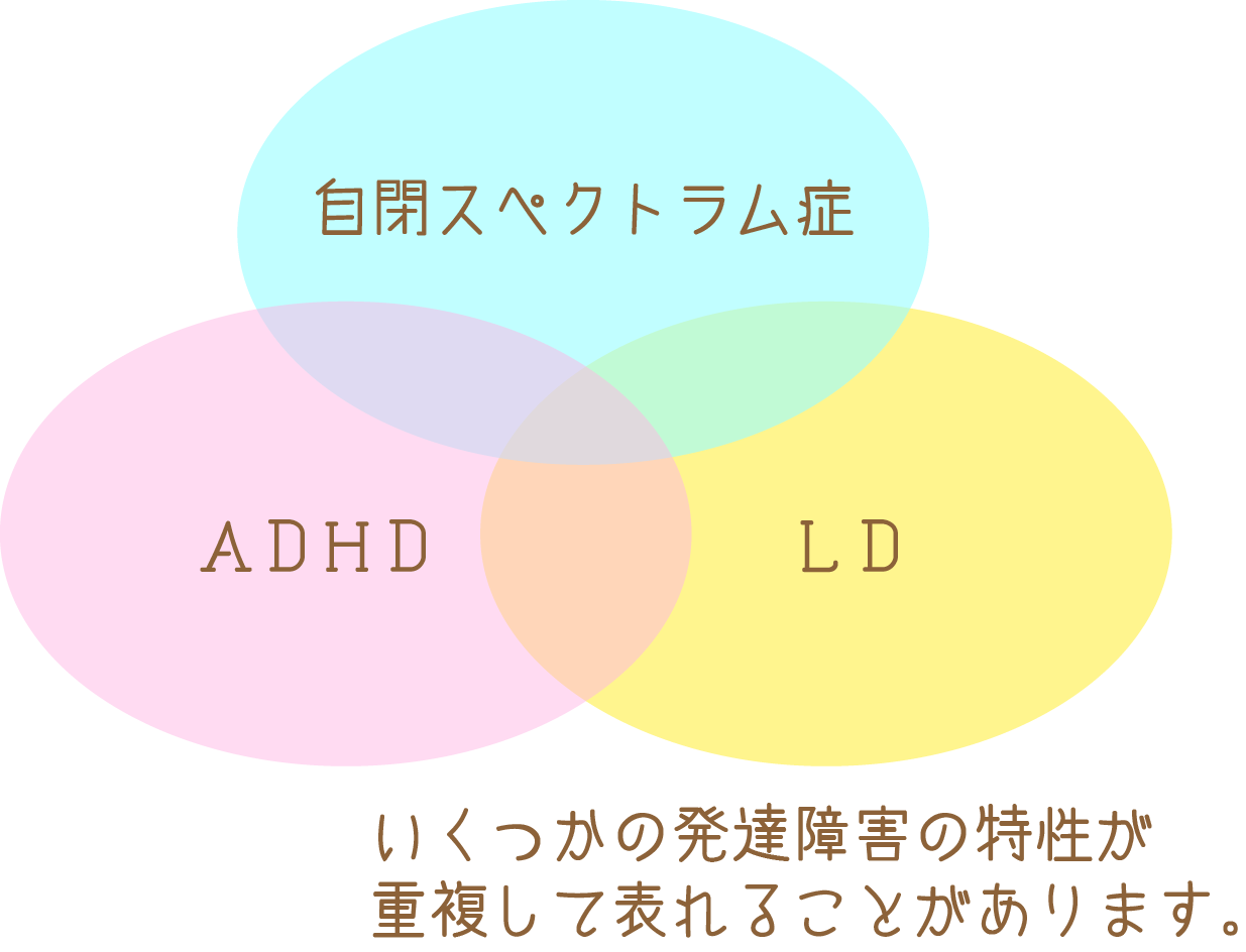 いくつかの発達障害の特性が重複して表れることもあります。